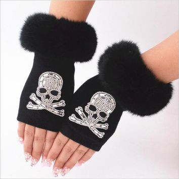 Fingerless Gloves Winter Warm Short Plush Diamonds Sequins Skull