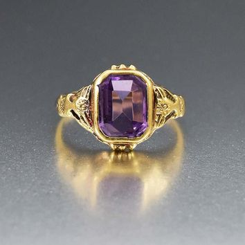 Antique Amethyst and 14K Gold Edwardian Ring
