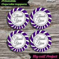 """Thank you - Cupcake toppers - Indigo blue - Instant Download - Party printable - Party favor - Candy Bar - 5 cm / 2"""""""