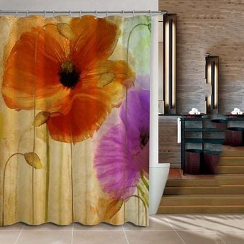 ChadMade 3D Digital Floral Print Shower Curtain Waterproof Fabric Modern Style Eco-Friendly Curtain for Bathroom 183x183cm