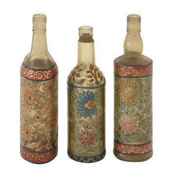 Classy Set Of 3 Glass Painted Bottle