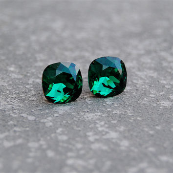 Emerald Green Earrings Swarovski Emerald Studs Super Sparklers Square Vintage Swarovski Crystal Emerald Green Stud Earrings Mashugana