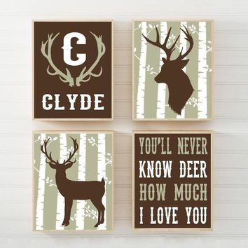 DEER Nursery Wall Art Canvas or Prints DEER Decor, Baby Boy Nursery Decor, Rustic Country, Personalized Boy Name, Big Boy Bedroom Set of 4
