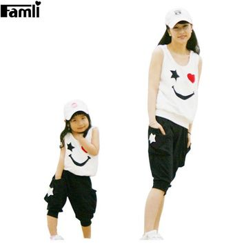 DCCKL3Z Matching Mother Daughter Clothes Sets Fashion Family Mom Girl 2pcs Outfits Mommy Me Summer Fashion Sleeveless Tshirt+Short