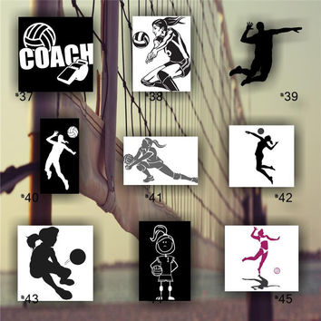 VOLLEYBALL #37-45 - vinyl decals - customizeable and mulitple colors available