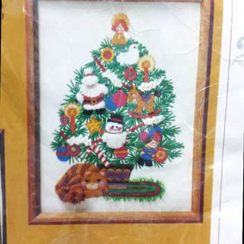 Vintage Christmas Crewel Kit Retro Holiday Craft Sewing Needlepoint Embroidery XMas Tree Cat Santa Snowman Picture 1979 The Creative Circle