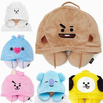 Cute Baby Neck Cushion Pillow Kpop BTS Bangtan Boy Style U-Shaped Hooded Pillow Comfortable Softy Neck Cushion Bedding Bedding