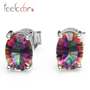 Hot Sale Women Fashion Genuine Natural Fire Rainbow Mystic Topaz Oval Concave Classic Earrings Stud Solid 925 Sterling Silver