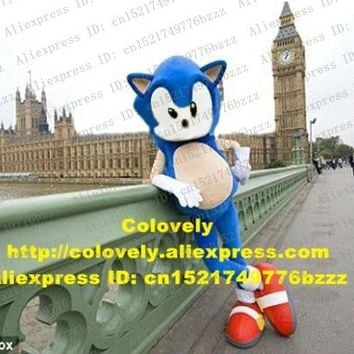 Brave Pink Blue Sonic The Hedgehog Hedgepig Mascot Costume Adult Size With Big Triangular Ears Big Clear White Eyes No.8524 FS