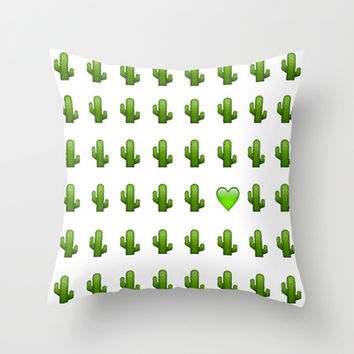 Cacti Emoji Love Throw Pillow by Gretchen M.