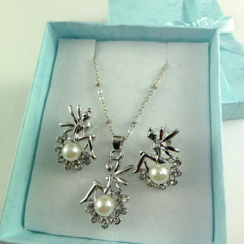 Fairy Elf Silver Toned Rhinestones Pearl Necklace Earring Set Fairy Pendant Fairy Necklace Prom Wedding Swarovski Crystal Chain Pendant