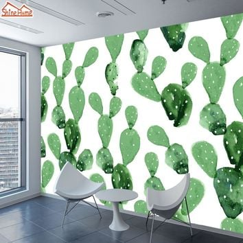 ShineHome-Natural Wallpapers for 3 d Living Room Wallpaper 3d Wall Paper Cactus Oil Painting Mural Rolls Home Walls Decoration