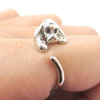 Cocker Spaniel Puppy Dog Animal Wrap Ring in Shiny Silver | Sizes 4 to 8.5 Available