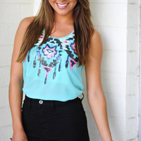 Sequin Win Tank: Blue/Multi | Hope's