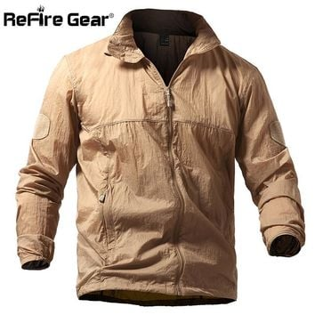 Trendy ReFire Gear Lightweight Portable Waterproof Tactical Jacket Men Summer Breathable Military Army Thin Hoodie Skin Jackets S-5XL AT_94_13