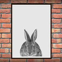 Rabbit Print, Woodlands Nursery, Rabbit Wall Art Decor, Black and White Animal Print, Black and White Nursery Woodlands Bunny *50*
