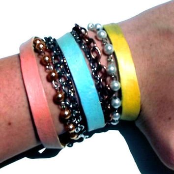 Neon Coral Blue and Yellow Arm Candy Bracelet by Beatniq on Etsy