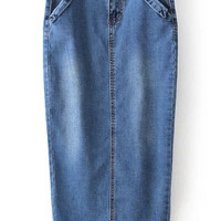 Blue Pockets Bleached Split Denim Skirt - Sheinside.com