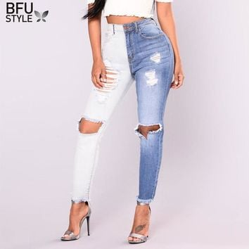 Hole Ripped Irregular Jeans Blue White Women Stretch Denim Pencil Pants Casual Slim Summer Trousers Stitching Colors High Waist