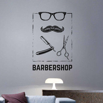 kik3244 Wall Decal Sticker Mustache sunglasses men's hairdresser barbershop