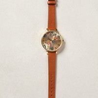 Parlour Floral Big Dial Watch by Anthropologie Botanical Motif One Size Jewelry