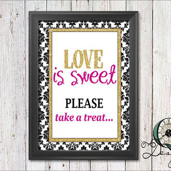 Single Image digital download Event Signs Black Gold and Pink Wedding Birthday Baby Shower Decor Party Supply Love is Sweet Take a Treat