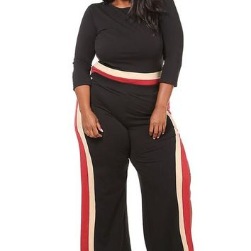 Colorblocked top & slit pants set Plus Size