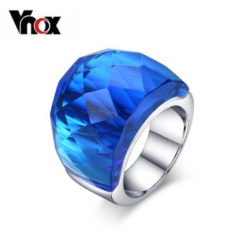 Vnox Large Crystal Stone Rings for Women Stainless Steel Wedding Party anel 7 Color US size 6 7 8 9