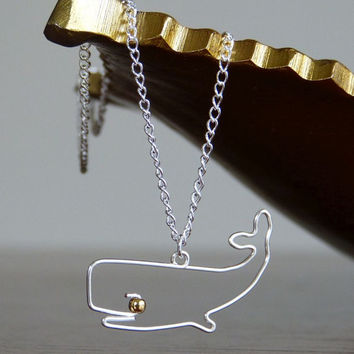 Wire Jewelry Whale Necklace - Animal Pendant
