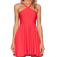 OH MY LOVE Skater Dress in Red