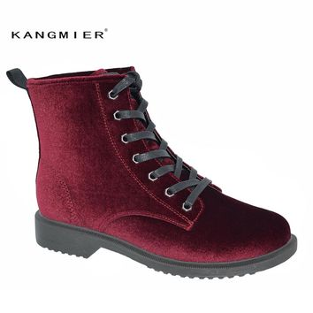 KANGMIER Chelsea Boots Classical Women Shoes Hining Boots Ankle Bootie Woman Lace Up Bootie in Gurgundy Black Grey for Winter