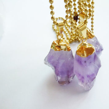 Gold Dipped Amethyst Crystal Point Necklace - 24K Gold Plated - Raw Crystal - Natural History Jewelry