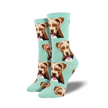 Novelty Socks PIT BULL MINT HEATHER Fabric Dog Cotton Crew Wnc1529 Hmt