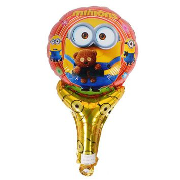 Lucky 50pcs/lot Despicable Me Cheering Stick Balloon Clappers Cartoon Minions Foil Air Balloons Birthday Party Decoration Globos