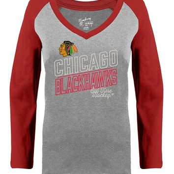 Womens Chicago Blackhawks Patricia Long Sleeve Tee By Old Time Hockey
