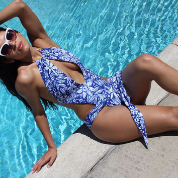 Royal floral sexy one piece swimsuit