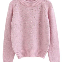 Pink Beaded Knitted Sweater