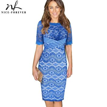 Nice-forever Elegant  Pinup Rockabilly Tunic Women Vintage print Lace Crochet Prom half Sleeve Evening Pencil Party Dress 822