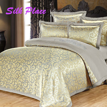 SILK PLACE Luxury Bedding Set Cotton Bed Linen Duvet Cover Pillowcases Bed Sheet Sets Jacquard Home Textile Queen Full Coverlets
