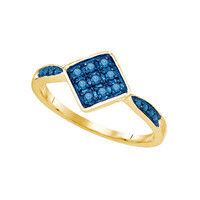 Blue Diamond Fashion Ring in 10k Gold 0.2 ctw