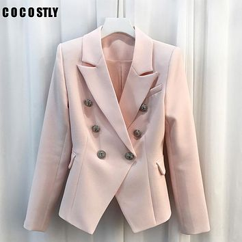HIGH QUALITY Fashion 2017 Designer Office Blazer Women's Suit Gold Buttons Double Breasted Women Blazers and Jackets