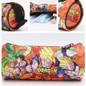 Dragon Ball Z Vegeta Round PU Pencil Case Student Stationery Pen Bag Wallet 18.5*8.5cm Make Up Bag Wallet Kids Gift