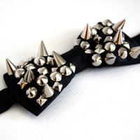 Spiked and Studded Bow Tie  Black by VileBroccoliFur on Etsy