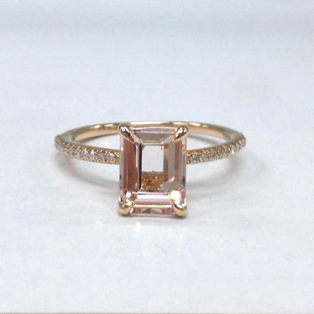 Morganite Diamond Ring in 14K Rose Gold!6x8mm Emerald Cut Morganite Engagement Ring,Claw Prongs,Diamond Wedding Bridal Ring,Fashion Fine