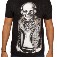 Rawyalty Vintage Men's Skull Jacket T-Shirt with Stones Black