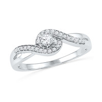 10kt White Gold Womens Round Diamond Solitaire Swirl Promise Bridal Ring 1/5 Cttw 100737