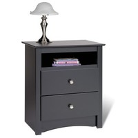 Prepac Sonoma Black Two-Drawer Tall Nightstand w/ Open Cubbie