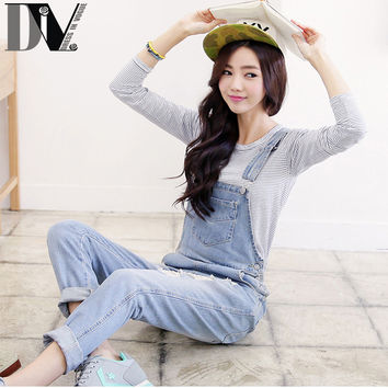 DIV Ripped Hole Long Denim Jumpsuits Summer Adjustable Strap Rompers 3 Kinds Color Street Style Women Jeans Bib Overalls