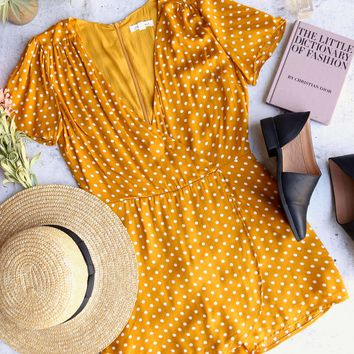 cotton candy la - shoreditch polka dot romper - mustard/white