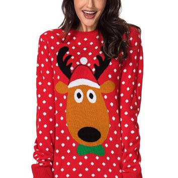 Lovely Reindeer Red Christmas Sweater